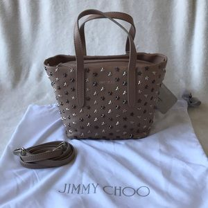 Jimmy Choo Beige Mini Sarah Star Studded Bag